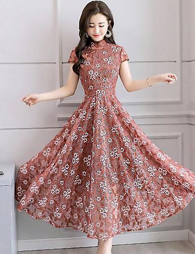 f4d2eb54a88b2 فستان نسائي متموج طباعة ميدي ورد مرتفعة مناسب للخارج
