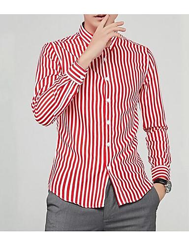 Koszula Męskie Moda miejska Prążki / Długi rękaw