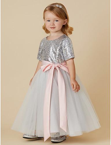 66761fee5e Krój A Do kostki Sukienka dla dziewczynki z kwiatami - Tiul   Z ...