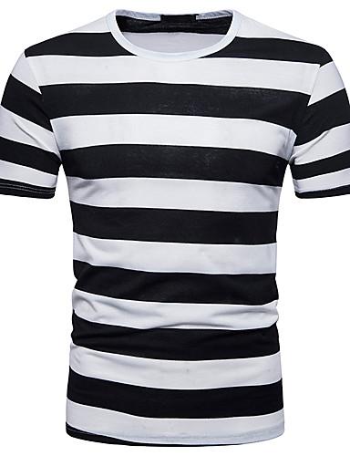 6bafbd2edf21 Ανδρικά T-shirt Αθλητικά Κομψό στυλ street - Βαμβάκι Ριγέ   Συνδυασμός  Χρωμάτων Στρογγυλή Λαιμόκοψη Λεπτό Στάμπα Μαύρο L   Κοντομάνικο   Καλοκαίρι