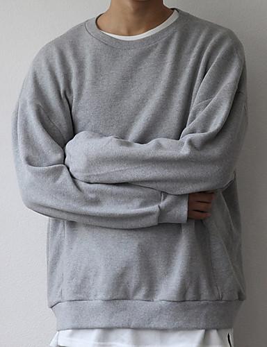 Męskie Puszysta Podstawowy Długi rękaw Bluza dresowa - Solidne kolory, Z marszczeniami Okrągły dekolt