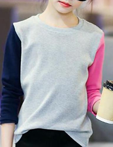 Barn Jente Enkel Fargeblokk Bomull T-skjorte Grå