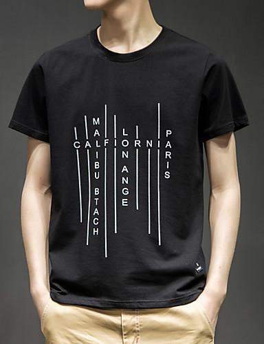 T-shirt Męskie Aktywny / Moda miejska, Nadruk Bawełna Sport Okrągły dekolt Solidne kolory / Litera / Krótki rękaw