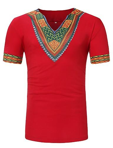 T-shirt Męskie Podstawowy, Nadruk W serek Geometric Shape / Krótki rękaw