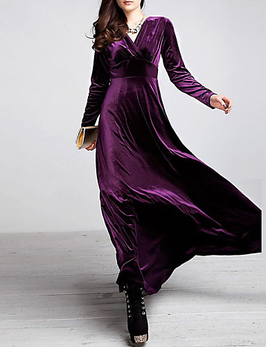 Kadın's Büyük Bedenler Kadife Çan Elbise - Solid V Yaka Maksi Yüksek Bel