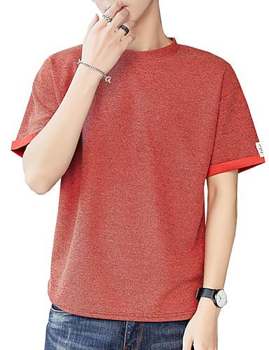 T-shirt Męskie Podstawowy / Moda miejska Bawełna Sport Okrągły dekolt Solidne kolory / Krótki rękaw