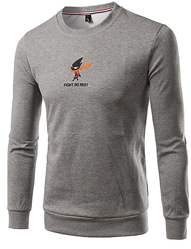 Męskie Sport Długi rękaw Szczupła Bluza dresowa - Solidne kolory Okrągły dekolt