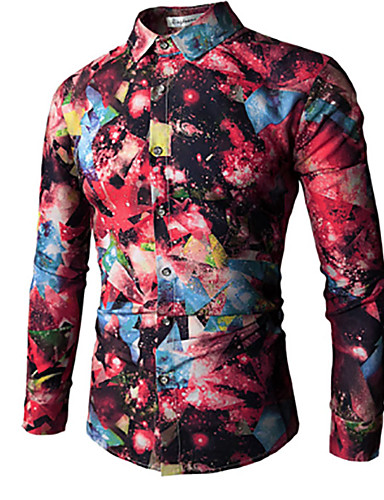 Puszysta T-shirt Męskie Wzornictwo chińskie Kołnierzyk koszuli Kwiaty / Długi rękaw