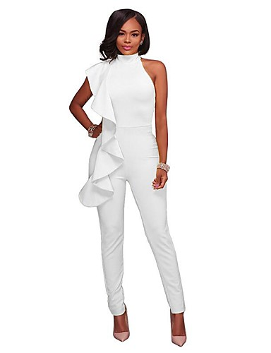 cheap Women's Jumpsuits & Rompers-Women's Ruffle Kentucky Derby Party / Going out Halter Neck Black Yellow Royal Blue Harem Slim Bodysuit, Solid Colored Cut Out / Ruffle M L XL Cotton Sleeveless Spring Summer