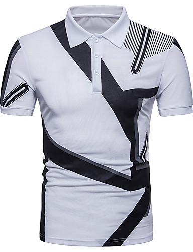 สำหรับผู้ชาย เสื้อเชิร์ต พื้นฐาน ฝ้าย คอเสื้อเชิ้ต ลายบล็อคสี ขาว L / แขนสั้น / ฤดูร้อน