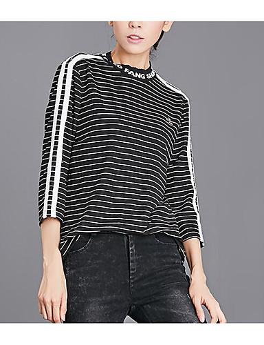 billige Dametopper-Bomull T-skjorte Dame - Stripet, Dusk Svart