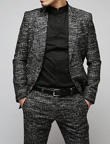 צמר בגדי ריקוד גברים אפור כהה L XL XXL בלייזר דפוס / קולור בלוק / שרוול ארוך / אביב / עסקים מקרית
