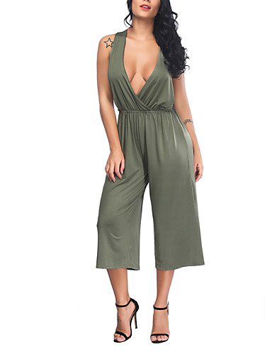 2b3fe01fbc7 Women s Plus Size Daily   Going out Street chic V Neck Camel Army Green  Slim Jumpsuit