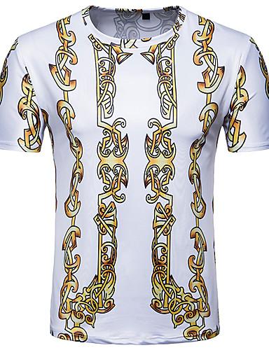 billige T-shirts og undertrøjer til herrer-Rund hals Herre - Tribal Trykt mønster Vintage / Basale T-shirt Hvid L / Kortærmet