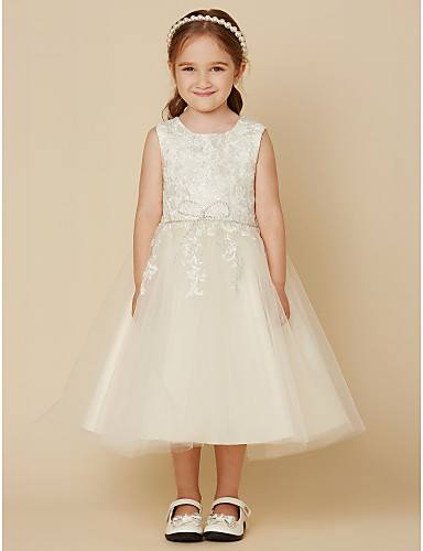 A-Line Knee Length Flower Girl Dress - Lace Tulle Sleeveless Jewel Neck with Beading Appliques by LAN TING BRIDE®