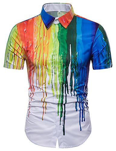 abordables Camisas de Hombre-Hombre Básico Tallas Grandes Camisa Arco iris Arco Iris XL / Manga Corta / Verano
