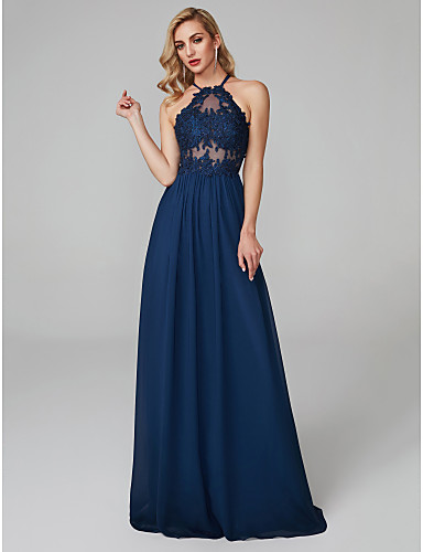 7de91a2c2e6 cheap Prom Dresses-Victoria Dress Style Sheath   Column Halter Neck Floor  Length Chiffon
