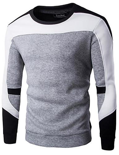 Męskie Moda miejska Długi rękaw Bluza dresowa - Kolorowy blok Okrągły dekolt