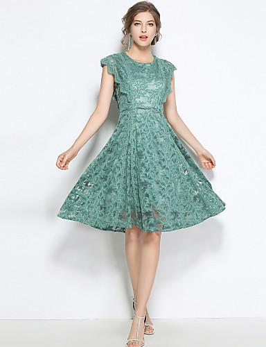 hesapli Vintage Kraliçesi-Kadın's Dışarı Çıkma Vintage / Sokak Şıklığı A Şekilli Elbise - Solid, Dantel Diz-boyu Yüksek Bel