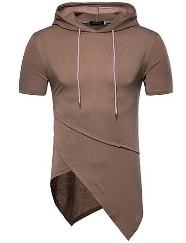 T-shirt Męskie Moda miejska Kaptur Solidne kolory / Krótki rękaw
