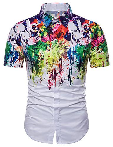 abordables Camisas de Hombre-Hombre Básico Tallas Grandes Camisa Geométrico Blanco XL / Manga Corta / Verano