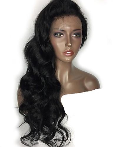 billige Blondeparykker med menneskehår-Ekte hår Ubehandlet Menneskehår Blonde Forside Parykk Midtdel Deep Parting Side del stil Brasiliansk hår Bølget Naturlig Parykk 130% Hair Tetthet med baby hår Naturlig hårlinje Til fargede kvinner