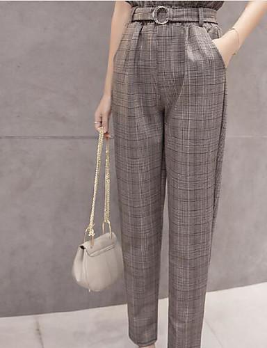 abordables Pantalons Femme-Femme Grandes Tailles Quotidien Sarouel Pantalon - Couleur Pleine Plissé Coton Bleu Kaki M L XL