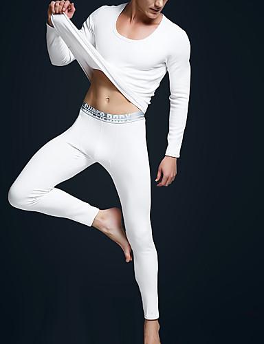 Męskie Dekolt w kształcie litery U Kostiumy Piżama - Nadruk, Jendolity kolor / Seksowny