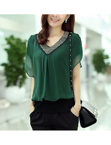 Women's Basic Blouse - Solid Colored Beaded