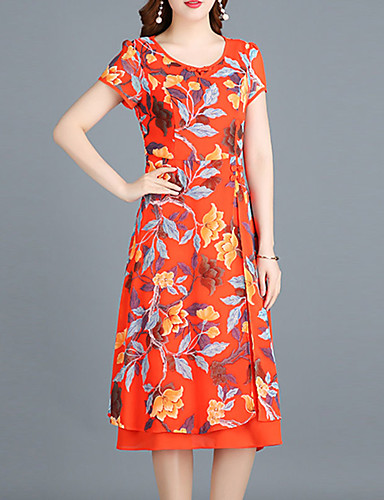 15c64fe56fc Women s Floral Plus Size Going out Sophisticated Slim Sheath Chiffon Dress  - Floral Black