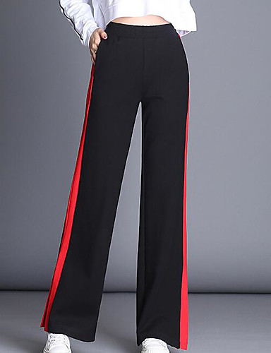 Damskie Bawełna Luźna Spodnie szerokie nogawki Spodnie Kolorowy blok / Rozcięcie