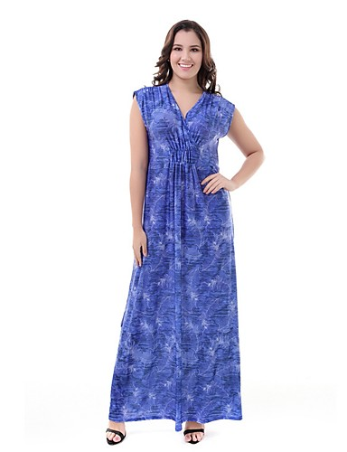 04eb076859 Women's Plus Size Daily Boho Maxi Swing Dress - Floral High Waist V Neck  Summer Blue