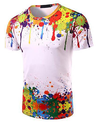T-shirt Męskie Moda miejska Okrągły dekolt Tęczowy / Krótki rękaw