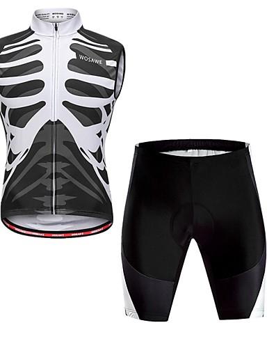 cheap Cycling Clothing-WOSAWE Men's Long Sleeve Cycling Jersey with Shorts - Black / White Skeleton Bike Vest / Gilet Padded Shorts / Chamois Quick Dry Reflective Strips Back Pocket Sports Skeleton Mountain Bike MTB Road