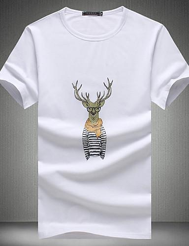 T-shirt Męskie Moda miejska Okrągły dekolt Szczupła - Zwierzę / Krótki rękaw