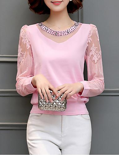 abordables Camisas y Camisetas para Mujer-Mujer Blusa Un Color Rojo L