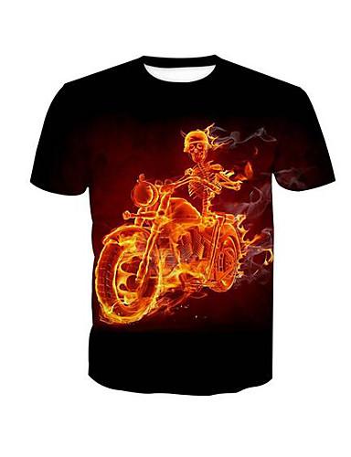 T-shirt Męskie Podstawowy, Nadruk Okrągły dekolt Czaszka / Krótki rękaw