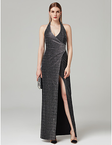 77b42c8acd Sheath   Column Plunging Neck Ankle Length Spandex Prom   Formal Evening  Dress with Draping   Split Front   Pleats by TS Couture®