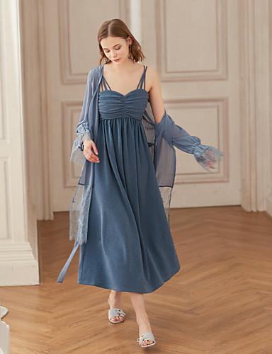 Damskie Vintage Szczupła Linia A Sukienka - Solidne kolory W serek Wysoka talia Midi / Seksowny