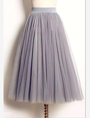 povoljno Ženske suknje-Žene Ljuljačka Tutus / Slatka Style Maxi Suknje - Jednobojni Crn Obala Sive boje S M L