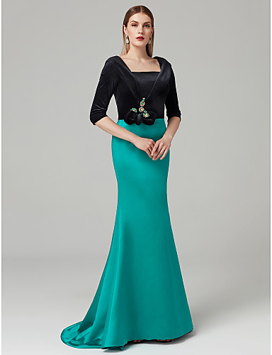789e4386efc Mermaid   Trumpet Square Neck   Straight Neckline Sweep   Brush Train Satin    Velvet Cocktail Party   Formal Evening Dress with Pleats   Color Block by  TS ...