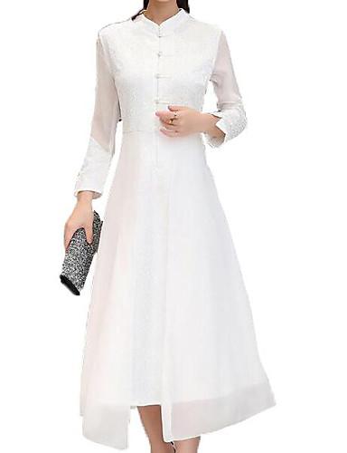 Radient Per Donna Per Eventi Sofisticato Cotone Taglia Piccola Fodero Swing Vestito Tinta Unita Colletto Alla Coreana Medio #06636261 Elegante Nello Stile