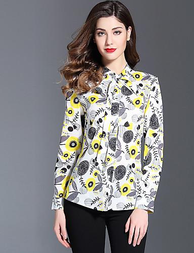 Koszula Damskie Moda miejska, Nadruk Kołnierz stawiany Kwiaty