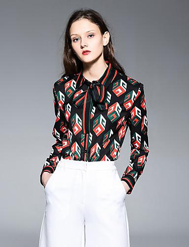 billige Topper til damer-Tynn Skjortekrage Bluse Dame - Geometrisk Gatemote Arbeid