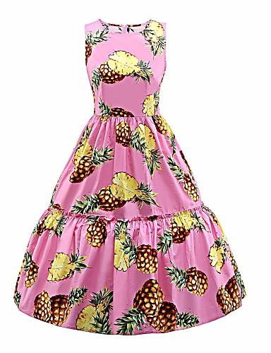 Damskie Rozmiar plus Vintage / Podstawowy Bawełna Szczupła Sukienka swingowa Sukienka - Kwiaty Midi