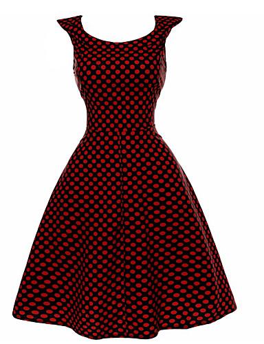 Damskie Święto Vintage Linia A Sukienka Nadruk Do kolan