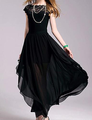 abordables Robes Maxi-Femme Mi-long Trapèze Robe - Plissé, Couleur Pleine Noir Printemps Noir L XL XXL Coton Manches Courtes