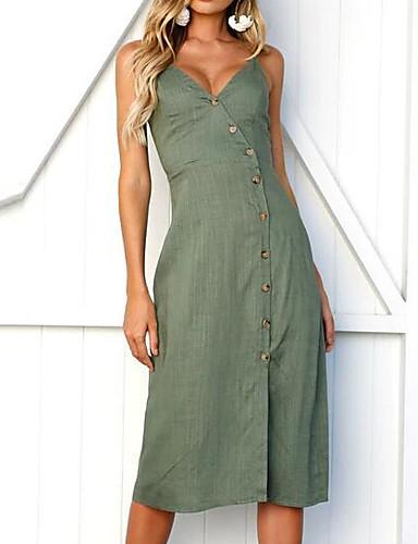 Women's Basic Slim Sheath Dress - Solid Colored V Neck