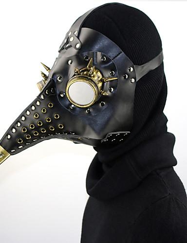 halpa Cosplay ja rooliasut-Plague Doctor / Steampunk Masquerade Mask Käytä naamio / Punk Rave Kaikki Musta PU-nahka Cosplay-tarvikkeet Halloween Puvut