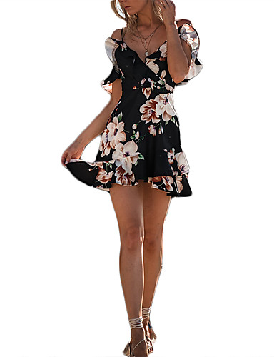 abordables Robes Femme-Femme Epaules Dénudées Fleur Vacances Plage Chic de Rue Mini Mince Moulante Robe - Imprimé, Fleur Taille haute Epaules Dénudées Noir Eté Blanc Noir M L XL Sans Manches / Super sexy